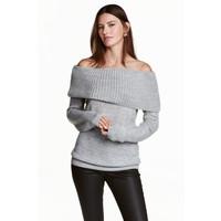 H&M Sweter z odkrytymi ramionami 0443214003 Szary melanż