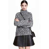 H&M Gruby sweter z golfem 0419448001 Czarny melanż