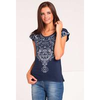 Monnari T-shirt z etno nadrukiem TSHIMP0-16J-TSH4410-KM13D004-R0S