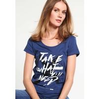 Q/S designed by T-shirt z nadrukiem blue petrol QS121D0EK
