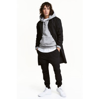 H&M Bawełniany płaszcz z diagonalu 0425862002 Czarny
