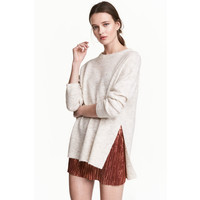 H&M Sweter oversize 0419463002 Jasnobeżowy