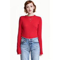 H&M Sweter w prążki 0453762002 Czerwony