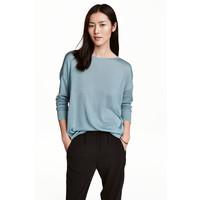 H&M Cienki sweter 0459889006 Turkusowy