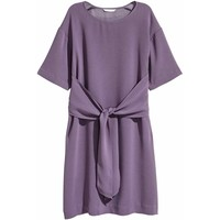 H&M Sukienka z wiązaniem 0455894006 Fioletowy