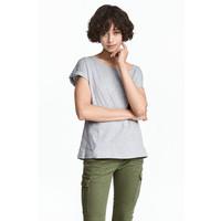 H&M Top z krótkim rękawem 0470555003 Grey marl