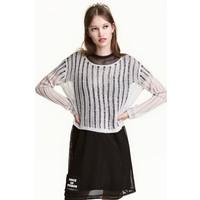 H&M Sweter o splocie w prążki 0468709003 Szary