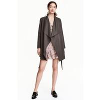 H&M Drapowany płaszcz 0320686007 Ciemnoszary