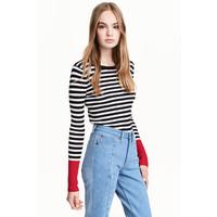 H&M Sweter w prążki 0402474008 Czarny/Białe paski