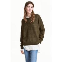 H&M Sweter oversize 0448193008 Zieleń khaki melanż