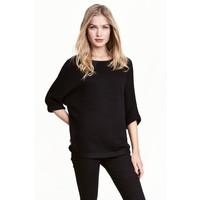 H&M Sweter robiony lewym ściegiem 0244267004 Czarny