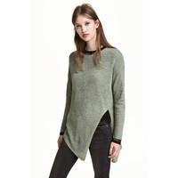 H&M Sweter o luźnym splocie 0398862004 Zieleń khaki