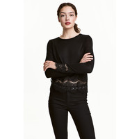 H&M Sweter z koronkowymi detalami 0454411007 Czarny