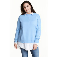 H&M H&M+ Cienki sweter 0445211003 Jasnoniebieski