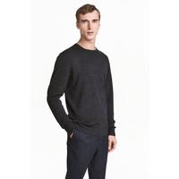 H&M Sweter z wełny merynosowej 0378135012 Ciemnoszary melanż