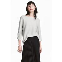 H&M Sweter o splocie w prążki 0411973010 Jasnoszary melanż