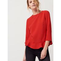 Mohito Czerwona bluzka z falbaną QY178-33X