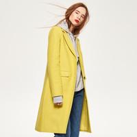 Reserved Żółty płaszcz z domieszką wełny QL431-11X
