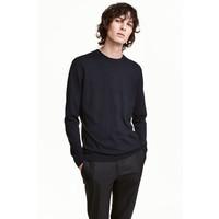 H&M Sweter z bawełny premium 0443638002 Ciemnoniebieski