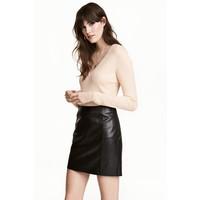 H&M Sweter w prążki 0485814002 Pudrowobeżowy
