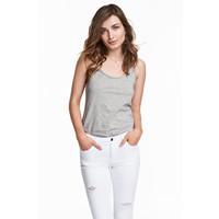 H&M Koszulka w prążki 0478843005 Szary melanż