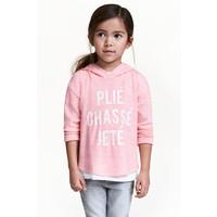 H&M Sweter z kapturem 0454674001 Jasnoróżowy melanż
