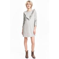 H&M Sukienka dresowa z falbanką 0504126001 Grey marl