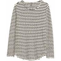 H&M Bawełniany sweter w paski 0468023001 Naturalna biel/Czarny