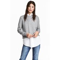 H&M Sweter z kołnierzykiem 0490243003 Szary melanż/Biały
