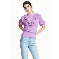 H&M Sweter w strukturalny wzór 0476622004 Fioletowy melanż