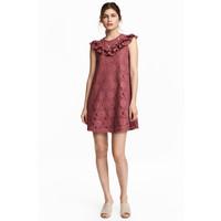 H&M Koronkowa sukienka z falbanami 0476619001 Antyczny róż
