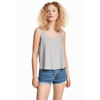 H&M Krótki top na ramiączkach 0218354012 Szary melanż