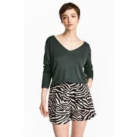 H&M Cienki sweter 0501436005 Ciemnozielony
