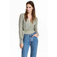 H&M Kopertowy sweter 0528783001 Miętowozielony/Brokat