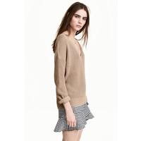 H&M Sweter z dekoltem w serek 0476472001 Beżowy