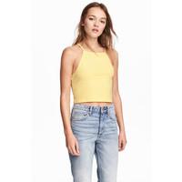 H&M Krótki top na ramiączkach 0377277014 Żółty