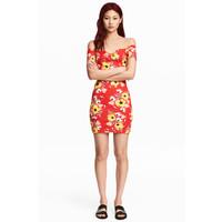 H&M Sukienka z odkrytymi ramionami 0502168008 Czerwony/Kwiaty