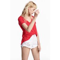 H&M Dżersejowy top w serek 0485973011 Czerwony