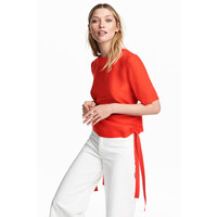 H&M Bluzka ze sznurkami 0530824001 Czerwony