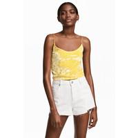 H&M Aksamitny top na ramiączkach 0509138001 Żółty