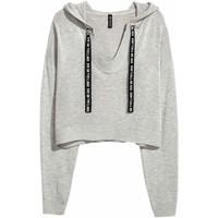 H&M Cienki sweter z kapturem 0506495002 Szary melanż