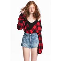 H&M Flanelowa koszula 0500348004 Czerwony/Krata