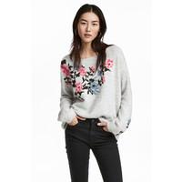 H&M Sweter z haftami 0519809001 Jasnoszary melanż