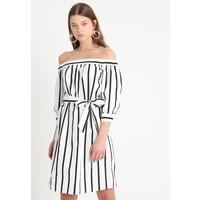 Selected Femme SFNADINE 3/4 OFF SHOULDER DRESS Sukienka letnia bright white/black SE521C0J1