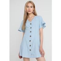 Topshop HORN BUTTON FLIPPY DRESS Sukienka jeansowa blue denim TP721C0YE