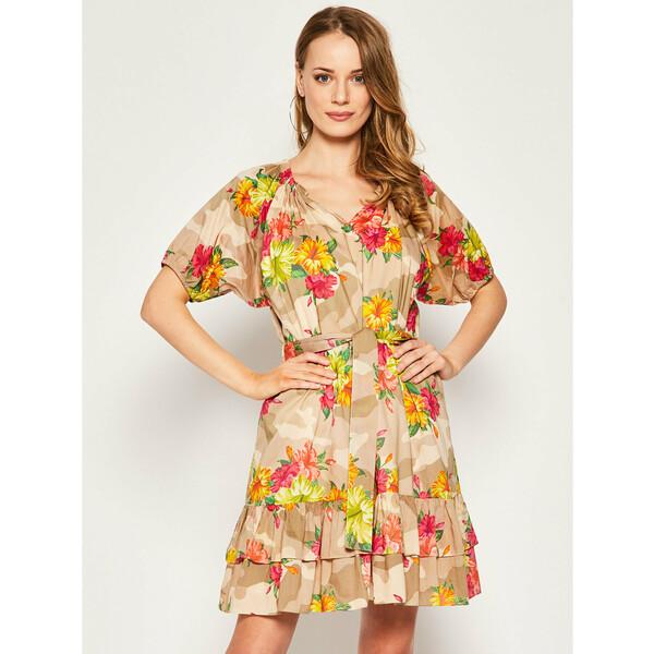My Twin Sukienka letnia 201MT2381 Beżowy Regular Fit