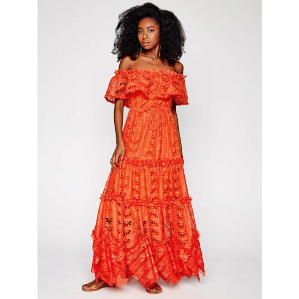 IXIAH Sukienka letnia IX22-80498 Pomarańczowy Regular Fit