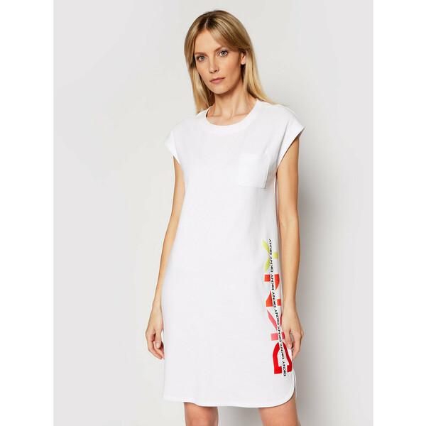 DKNY Sukienka dzianinowa P1BUTB2J Biały Regular Fit