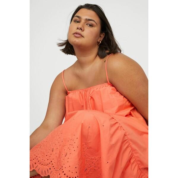 H&M H&M+ Długa popelinowa sukienka 0964531001 Koralowy