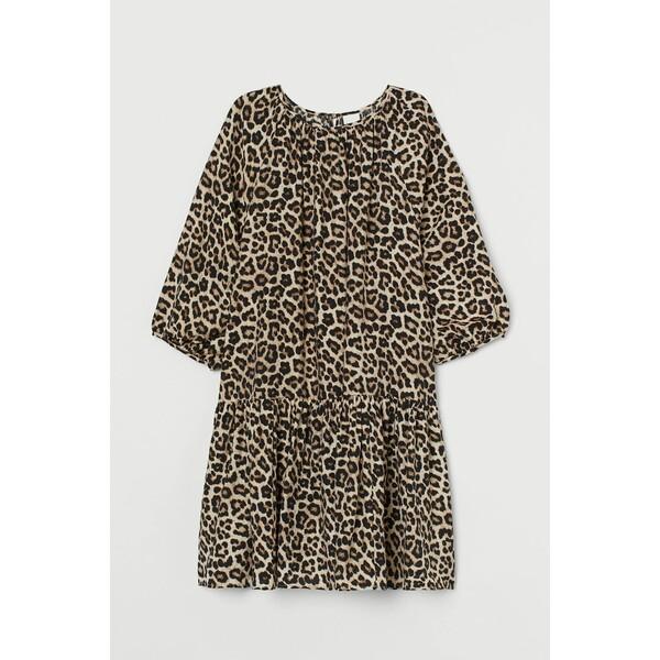 H&M Sukienka z baloniastym rękawem 0915453001 Jasnobeżowy/Panterka